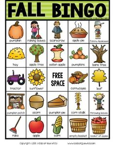 Fall BINGO by A Dab of Glue Will Do | Teachers Pay Teachers English Activities, Vocabulary Activities, Classroom Activities, Classroom Decor, Harvest Activities, Autumn Activities, Free Printable Bingo Cards, Printables, Bingo For Kids