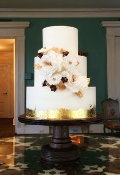 Gold detail wedding cake made by PPHG pastry chef Jessica Grossman at Bredthauer & McDaniel's wedding at the William Aiken House | Charleston, SC |  Photo by Jessica Grossman