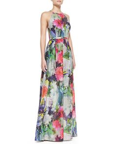 Halter+Top+Floral+Print+Ball+Gown,+Multicolor+by+Phoebe+by+Kay+Unger+at+Neiman+Marcus.