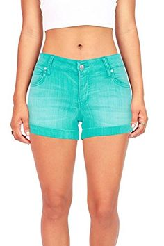 Celebrity Pink Womens Juniors Hazy Wash Low Rise Casual Shorts 5 Turquoise >>> For more information, visit image link.