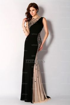 Trumpet/Mermaid Jewel Court Train Jersey Evening Dress