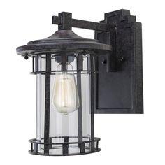 LNC  Industrial Edison Vintage Style Rust 1-Light Outdoor Wall Lantern