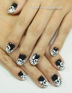 Skulls and Bones Nail Art Design by Simply Rins (Includes a video tutorial)   #nailart #halloween #halloweennailart #nailarttutorial