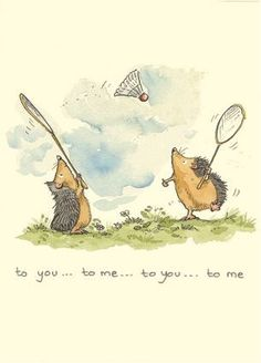badminton by Anita Jeram Art And Illustration, Anita Jeram, Hedgehog Art, Whimsical Art, Cute Drawings, Cute Art, Illustrators, Cute Pictures, Cute Animals