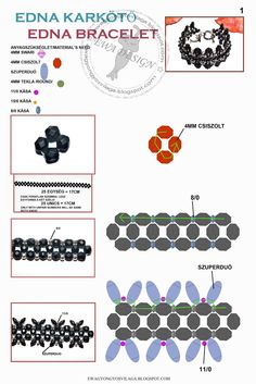 Diagrams for making the Edna bracelet by Eva Kovács. The materials include superduo beads, sizes 11, 15 and 8 seed beads, 4mm glass pearls, 4mm Czech fire-polished rounds, and 4mm Swarovski bicones.