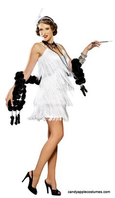 It will be easy to pretend you're at one of Gatsby's glamorous parties when you don this razzle dazzling flapper costume! Sexy women's costume includes white dress with rows of swingy white fringe, a flattering V neckline with ornate silver bead trim and silver straps, and matching headband with white satin rose and white feather. Jewelry, boa, cigarette holder, and shoes not included. Great for a Roxie Hart, Velma Kelly or Great Gatsby costume!