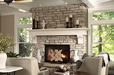 Love the stone on this fireplace. Floor to ceiling! Awesome!!