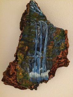 Trinity Falls,  Oil on Bark, Barb Savary, 2012