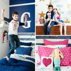 Pam Ginocchio reveals the boy and girl shared room makeover she created with Pottery Barn Kids for her son and daughter. The room looks beautiful! Sibling Bedroom, Kids Bedroom, Bedroom Ideas, Boy And Girl Shared Room, Boy Or Girl, Shared Bedrooms, Bedroom Color Schemes, Boy Room, Girl Rooms
