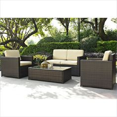 Lowest price online on all Crosley Furniture Palm Harbor 4 Piece Outdoor Wicker Sofa Set - KO70001BR
