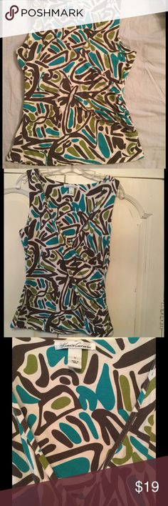 Faux wrap patterned tank Multi colored pattern (brown, cream, teal, green). v neck, ruching at waist. Kenneth Cole Tops Tank Tops