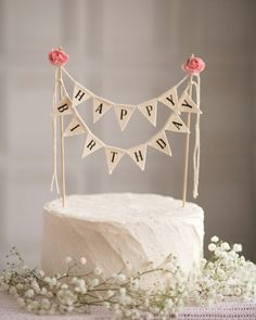 Happy Birthday Cake Topper Sign Black And White Banner