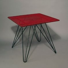 Coen de Vries; Enameled Metal Occasional Table for Pilastro, c1955.
