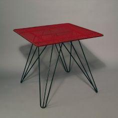 Coen de Vries; Enameled Metal Occasional Table for Pilastro, c1955.