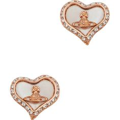 Vivienne Westwood Petra Crystal-embellished Stud Earrings ($90) ❤ liked on Polyvore featuring jewelry, earrings, rose gold tone earrings, post back earrings, post earrings, vivienne westwood jewelry and vivienne westwood jewellery