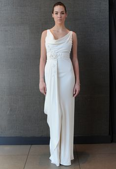 Draped Neckline Wedding Dress | Temperley Bridal Iris Summer 2015 Collection | The Knot Blog