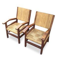 Paire de fauteuil en paille 1940 / Boutique en ligne : www.dedde-art.com