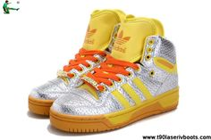 Buy Latest Listing Adidas Attitude Logo Double Heart Tongue Shoes Silver Yellow
