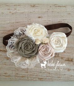 "Ready to Ship Holiday Sale- ""Vintage Garden"" Shabby Chic rosette headband, baby… Vintage Headbands, Cute Headbands, Baby Girl Headbands, Baby Bows, Fabric Flower Headbands, Rosette Headband, Crochet Headbands, Felt Flowers, Fabric Flowers"