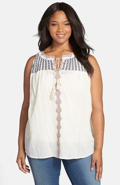 Two+by+Vince+Camuto+Embroidered+Cotton+Gauze+Split+Neck+Top+(Plus+Size)+available+at+#Nordstrom