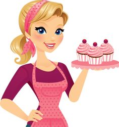 A beautiful blond holding a pretty trey of delicious cupcakes. Cupcakes and trey are easily removed in Ai with an open-palm 'gesturing' hand underneath. Her apron and headband can also be removed in. Cupcake Illustration, Illustration Art, Illustrations, Logo Patisserie, Cupcake Torte, Cake Logo Design, Bakery Logo, Yummy Cupcakes, Pretty Art