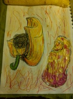 Project: Fruit & Vegetables  A study of Yellow Pepper, done in biro and paint, and again in silk and fabric dye and burnt