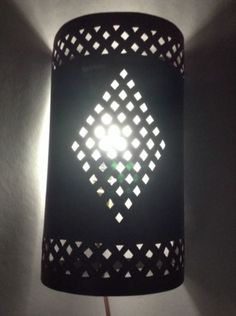 Moroccan Rustic Black Painted Wrought Iron Tin Wall Light Sconce Round Shade