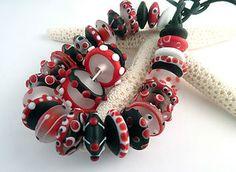 PT Lampwork Handmade Glass Beads Red Black White Disks SRA | eBay