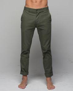 Mens Chino Pant Army available at www.monstasurf.com
