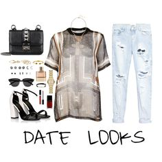 Hip Hop Date Looks by imyeni on Polyvore featuring Givenchy, One Teaspoon, Lipsy, Valentino, With Love From CA, Burberry, Sorrelli, Cartier, London Road and Vita Fede