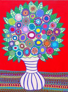 Kerri Ambrosino Art tapisserie d'Art populaire mexicain fleurs rouge