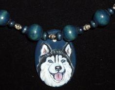 Siberian Husky Dog Necklace Painted Pendant by daniellesoriginals, $24.00