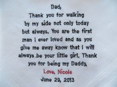 Free Gift Box Included. Personalized Embroidered Handkerchief. Wedding Gift For Your Dad.. $24.00, via Etsy.