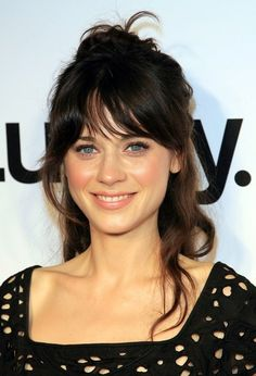 Zooey+Deschanel. Fresh - faced makeup with a tousled half - up, half - down hairstyle.