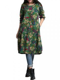Vintage Women Long Sleeve O Neck Floral Printed Pocket Cotton Linen Dress