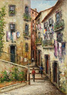"""Lote 2911 - Manuel Cardoso Lima (n.1949) - Original - Pintura a óleo sobre tela, assinado, motivo """"Alfama - Lisboa"""", com 70x50 cm (moldura com 74x54 cm) - Price Estimate: € - $"""