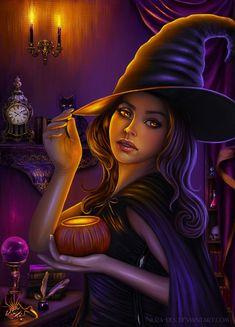 Halloween Witch by nura-des on DeviantArt Witch Pictures, Halloween Pictures, Halloween Art, Vintage Halloween, Halloween Witches, Happy Halloween, Fantasy Witch, Witch Art, Dark Fantasy