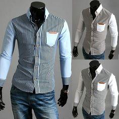 692e251a754e Spring Summer Striped Shirt Men 2015 Casual Slim Long Sleeve Turn-down  Collar Comfortable Blouse