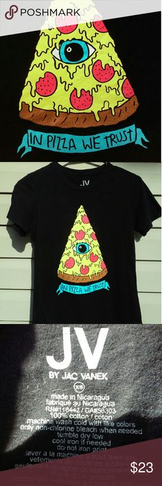 """💥 SALE 💥 NEW """"In Pizza We Trust"""" 🍕 """"In Pizza We Trust"""".  This awesome tee was purchased brand new and only worn once or twice, so its in excellent condition, like new!  Definitely a crowd pleaser!  🍕 $14 firm Jac Vanek Tops Tees - Short Sleeve"""