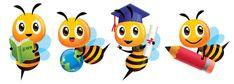 Bee Cartoon Images, Bumble Bee Cartoon, Bee Clipart, School Sets, Cute Bee, Bee Theme, Vector Art, Back To School, Christmas Cards