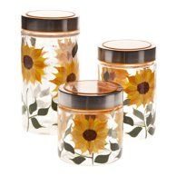 Walter Drake Sunflower Canisters Set of 3 in Different Sizes Clear Glass with Painted Design Metal Lids # Sunflower Themed Kitchen, Sunflower Bathroom, Sunflower Room, Sunflower Kitchen Decor, Sunflower Design, Sunflower Decorations, Yellow Kitchen Decor, Outdoor Decorations, Glass Apothecary Jars