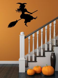 Halloween Decal, Witch Decal, Halloween Wall Decal, Witch Wall Decal, Flying Witch, Flying Witch Decal, Halloween Party, Witch