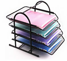 4-Tier Office Document Tray Paper/Magazine Metal  Holder (Black)