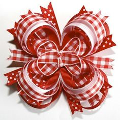 Southern Country Girl Red and White Checkered Stacked Boutique Hair Bow by rena