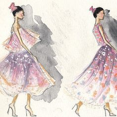 So many beautiful illustrations from the show at #MBFWA love this one by @sarahldarby1 #maticevski #sketch