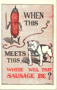 WW1 Patriotic Postcard: Bulldog & Anti German Humour, 1914-18