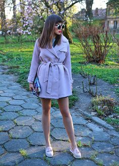 pastel pink trench coat and pink moccasins