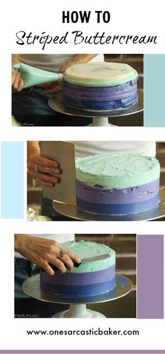 Striped Buttercream cake tutorial.Easy and simple techniuqe