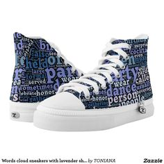 Words cloud sneakers with lavender shades