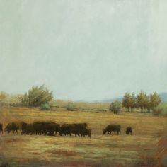 "Terry Gardner, ""The Black Herd"" Oil on Canvas 32""x 32"""